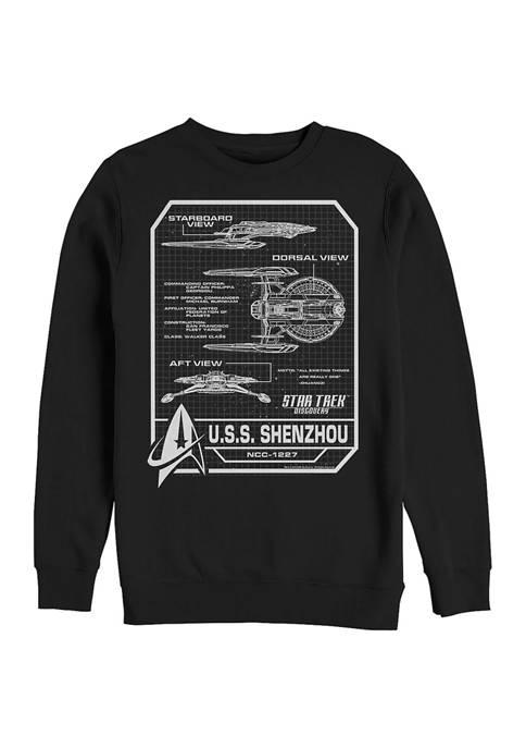 USS Shenzhou Schematic Graphic Crew Fleece Sweatshirt