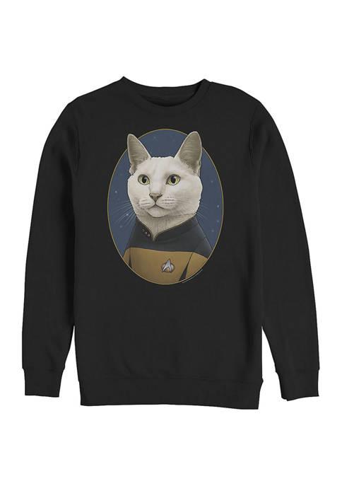 STAR TREK Data Cat Graphic Crew Fleece Sweatshirt
