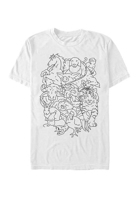 V-Line Zodiac Jumble Simple Graphic T-Shirt