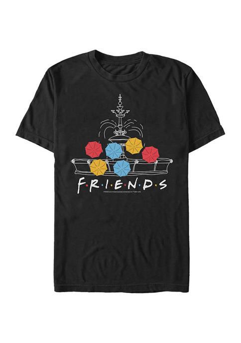 Friends Fountain Umbrellas Graphic Short Sleeve T-Shirt