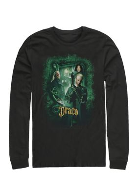 Harry Potter Mens Harry Potter Chamber Draco Banner Long Sleeve Graphic Crew T-Shirt