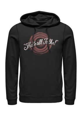 Looney Tunes Mens Thats All Folks Graphic Fleece Hoodie