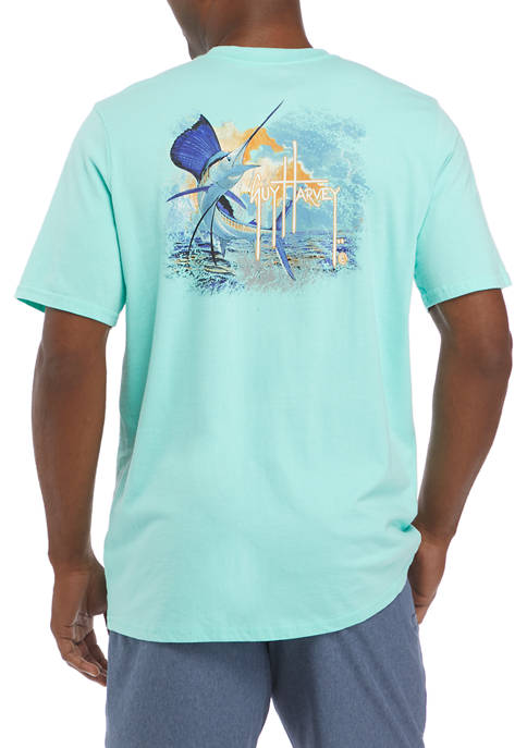 Guy Harvey® Mens Short Sleeve Sunset Sailfish Graphic