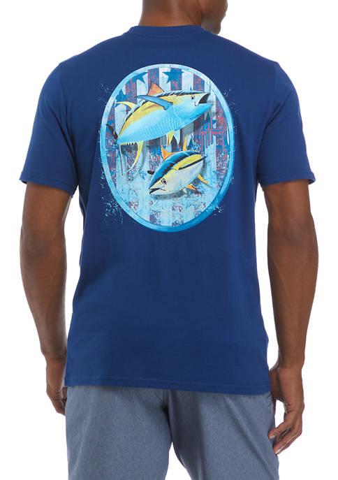 Guy Harvey® Mens Short Sleeve Patriotic Yellowfin Tuna