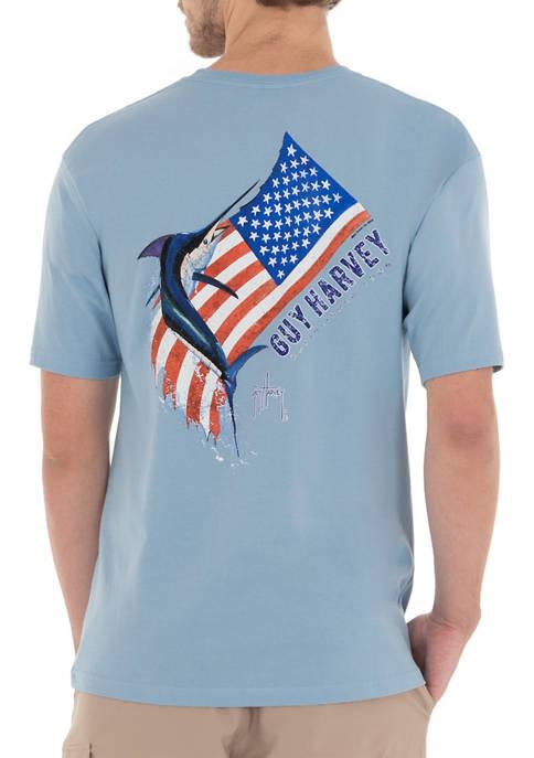 Guy Harvey® Men's Marlin Flag Short Sleeve Pocket