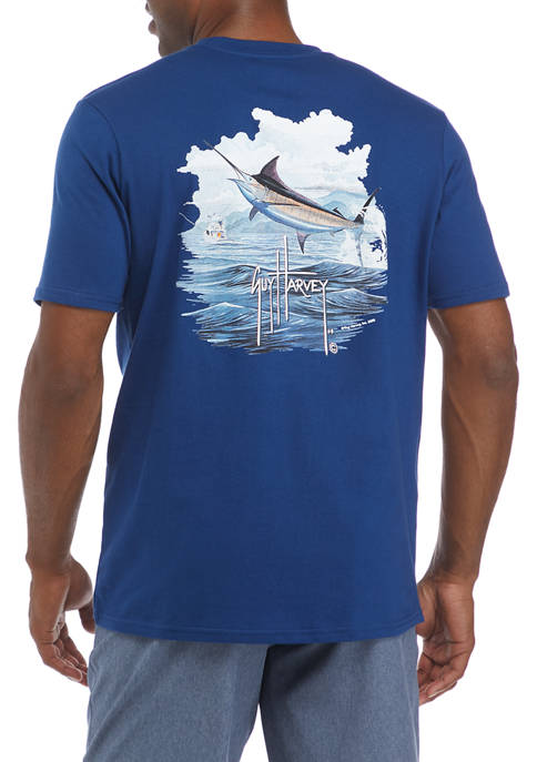 Guy Harvey® Mens Short Sleeve Blue Marlin Graphic