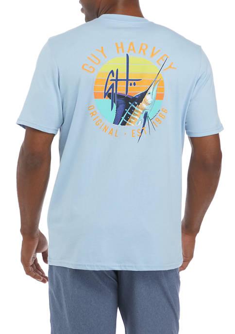 Mens Short Sleeve Marlin Sunset T-Shirt