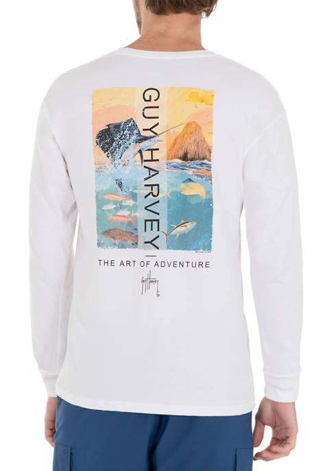 Guy Harvey® Mens Sunset Sailfish Long Sleeve T-Shirt