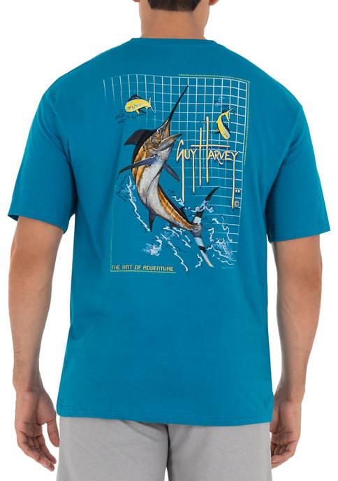 Guy Harvey® Marlin Grid Short Sleeve Pocket T-Shirt