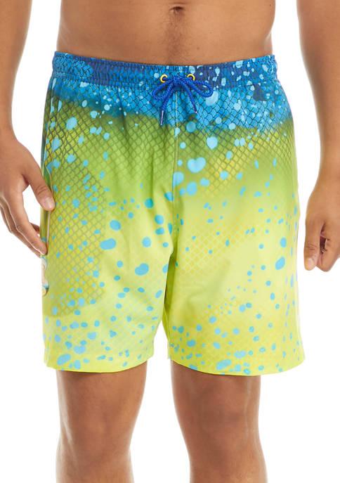 Guy Harvey® 7 Inch Printed Swim Trunks
