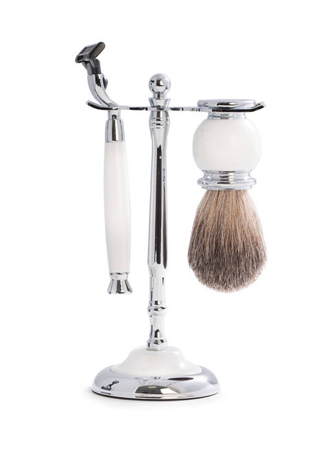 Mach3 Razor and Pure Badger Brush with Chrome Plated White Enamel Finish