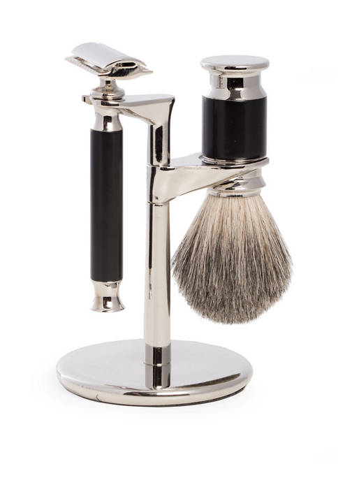 Safety Razor and Pure Badger Brush on Chrome Stand with Black Accent