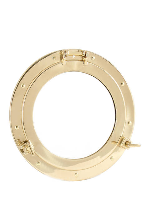 Bey-Berk 11.5 Inch Brass Porthole Mirror