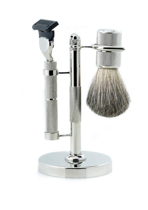 """Fusion"" Razor and Pure Badger Brush on Diamond Cut Design Chrome Stand"