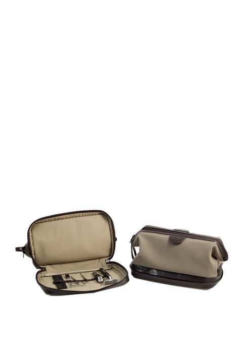 Bey-Berk Ultra Suede and Brown Leather Toiletry Bag
