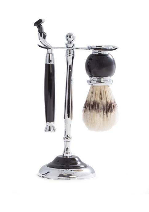 """Mach3"" Razor and Pure Badger Brush with Chrome Plated Black Enamel Finish"