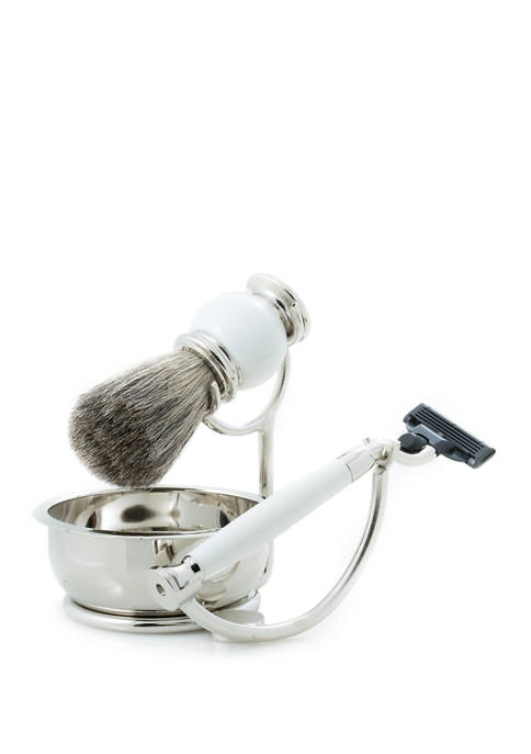 """""""Mach 3"""" Razor with Badger Brush and Soap Dish on Chrome Stand and  White Enamel Finish"""