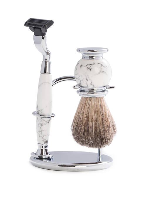 """""""Mach 3"""" Razor and Pure Badger Brush on Chrome with White Stone Stand"""