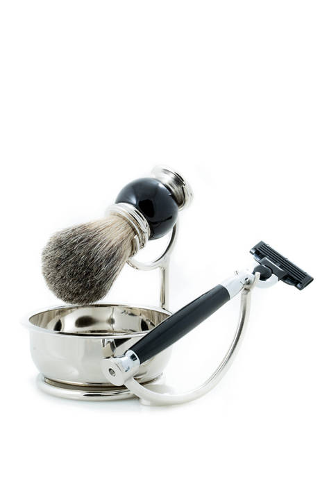 """Mach 3"" Razor with Badger Brush and Soap Dish on Chrome Stand and  Black Enamel Finish"