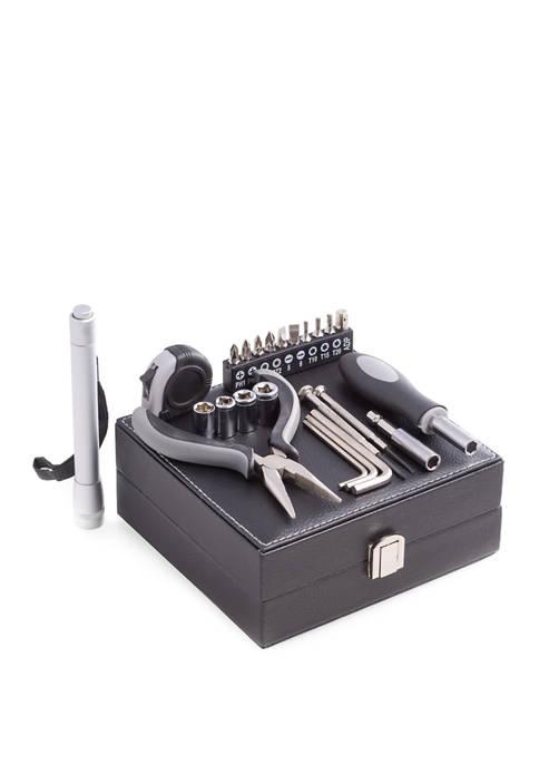 Bey-Berk 25 Piece Tool Set in Black Leatherette