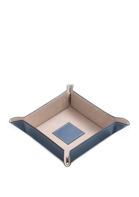 Bey-Berk Blue Leather Snap Valet with Pigskin Leather