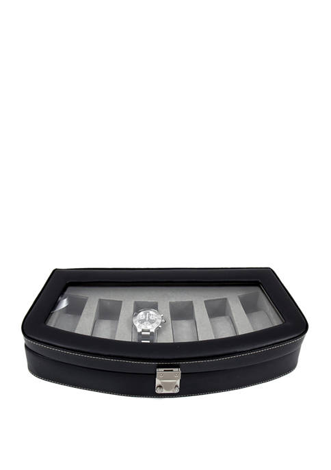 Bey-Berk Black Leather 6 Watch Case with Glass