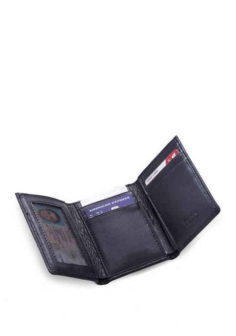Bey-Berk Tri Fold Black Leather Wallet with ID