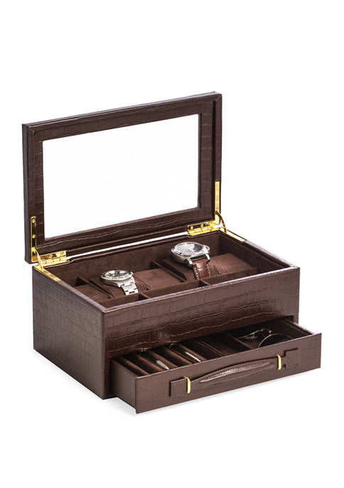 """Bey-Berk Brown """"Croco"""" Leather 5 Watch Box with"""