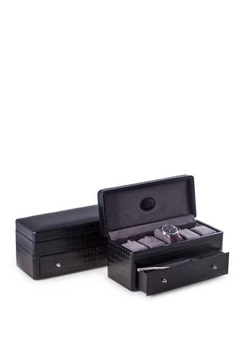 "Bey-Berk Black ""Croco"" Leather 5 Watch Box with"