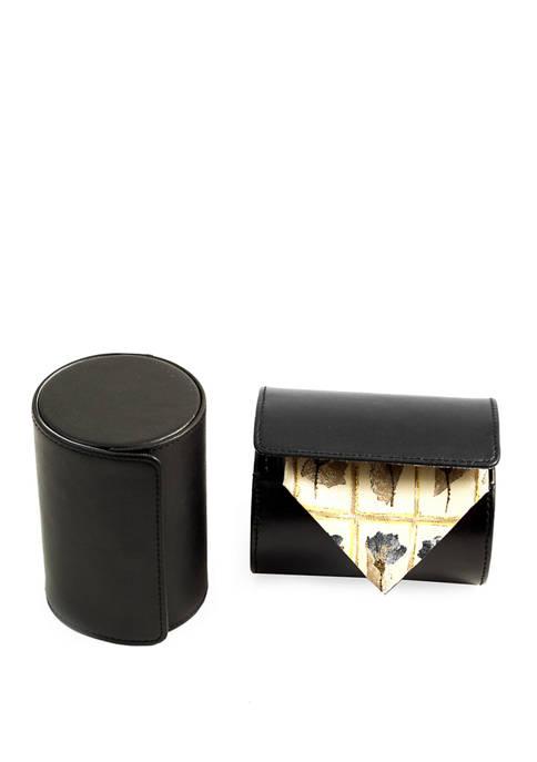 Bey-Berk Black Leather Single Travel Tie Case with