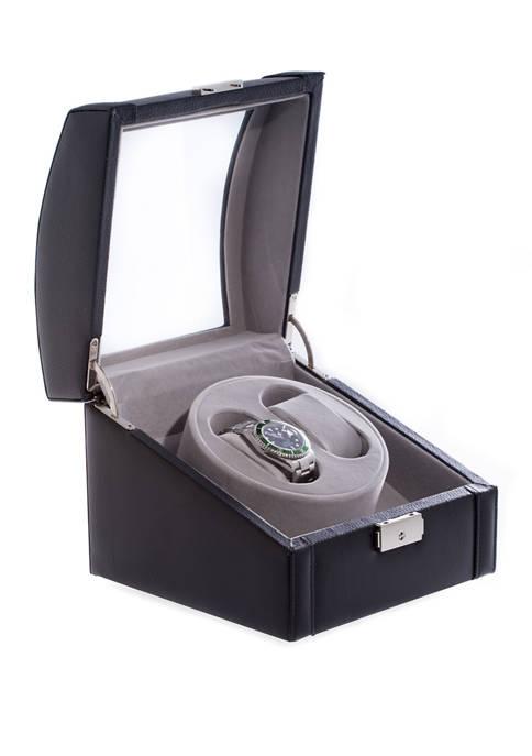 Bey-Berk Black Leather 2 Watch Winder With Glass