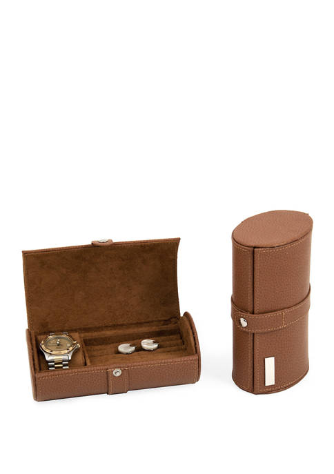 Bey-Berk Tan Leather Watch and Cufflinks Travel Case
