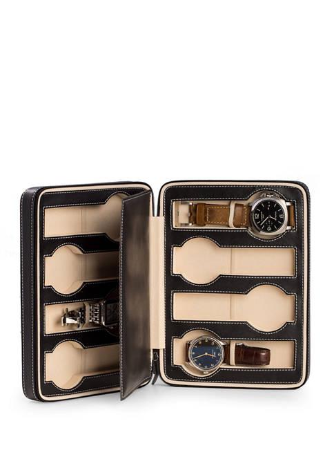 Black Leather 8 Watch Storage/Travel Case