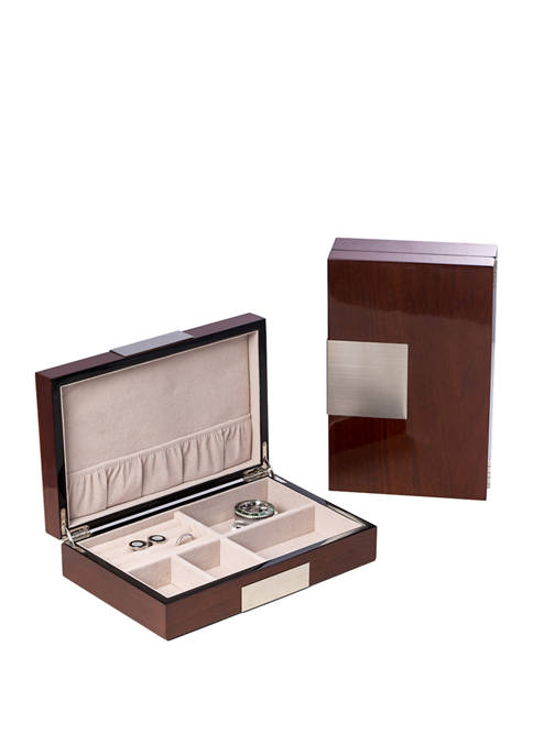 "Bey-Berk Lacquered ""Natural Walnut"" Wood Valet Box"