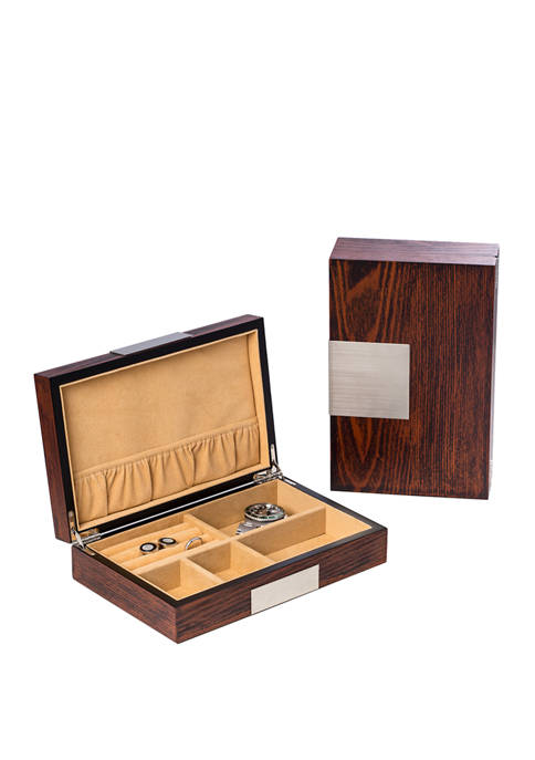 "Bey-Berk Lacquered ""Natural"" Wood Valet Box"