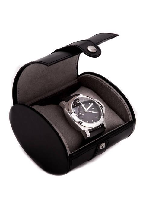 Bey-Berk Black Leather Single Watch Travel Case