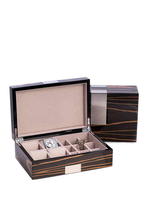 """Lacquered """"Ebony"""" Burl Wood Valet Box with Stainless Steel Accents for 4 Watches and 9 Cufflinks"""