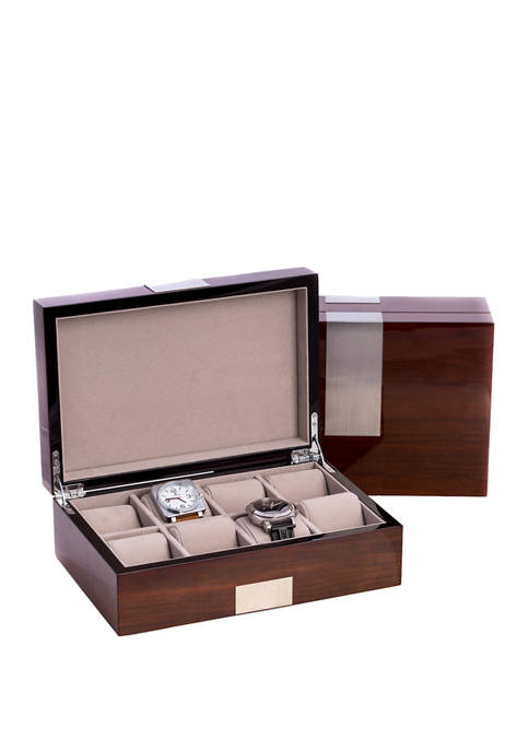 "Bey-Berk Lacquered ""Walnut"" Wood 8 Watch Box with"