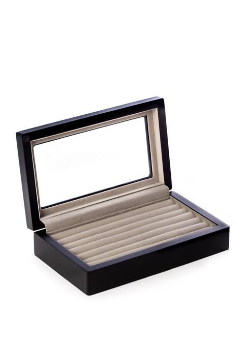 Bey-Berk Matte Black Wood Cufflink Box with Glass