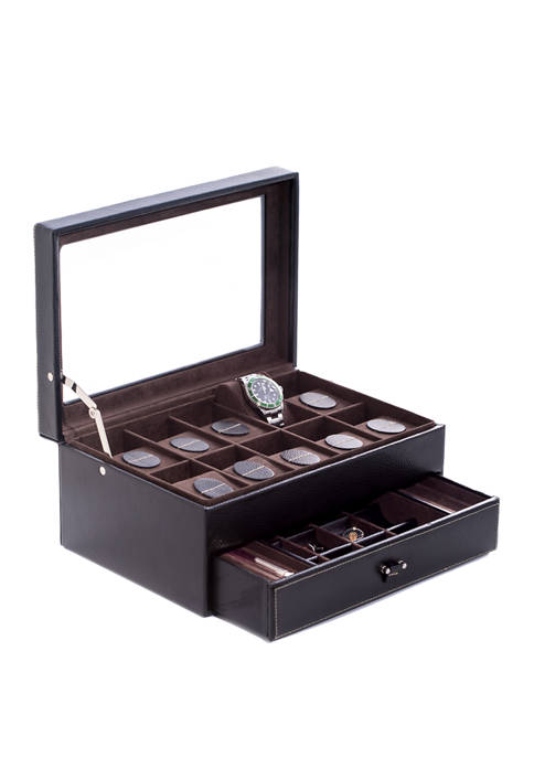 Bey-Berk Black Pebbled Leather 10 Watch Case