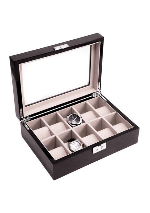 "Bey-Berk Lacquered ""Steel Gray"" Wood 10 Watch Case"
