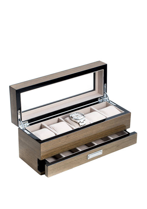 "Bey-Berk Lacquered ""Silver Walnut"" Wood 5 Watch Box"