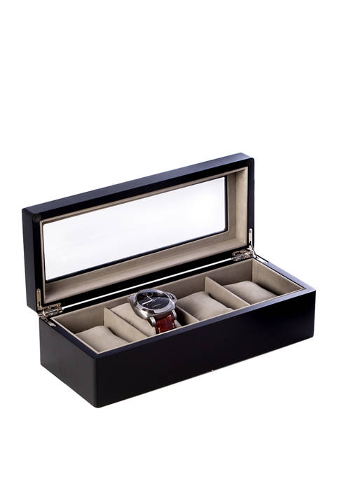 Bey-Berk Matte Black Wood 4 Watch Box with