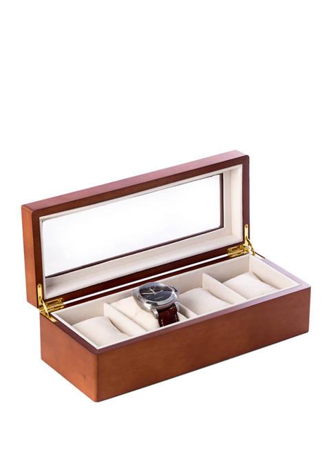 Bey-Berk Cherry Wood 4 Watch Box with Glass