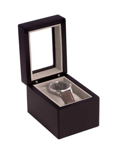 Bey-Berk Matte Black Wood Single Watch Box with