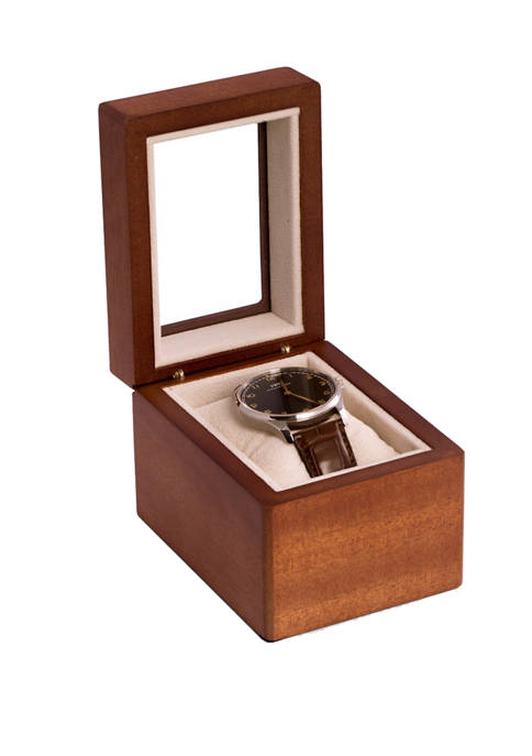 Bey-Berk Cherry Wood Single Watch Box with Glass
