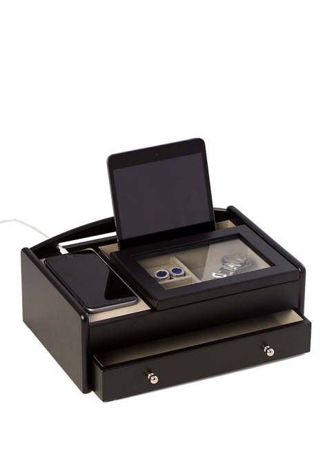 Matte Black Wood Valet Box Featuring Storage Compartment with Glass Lid