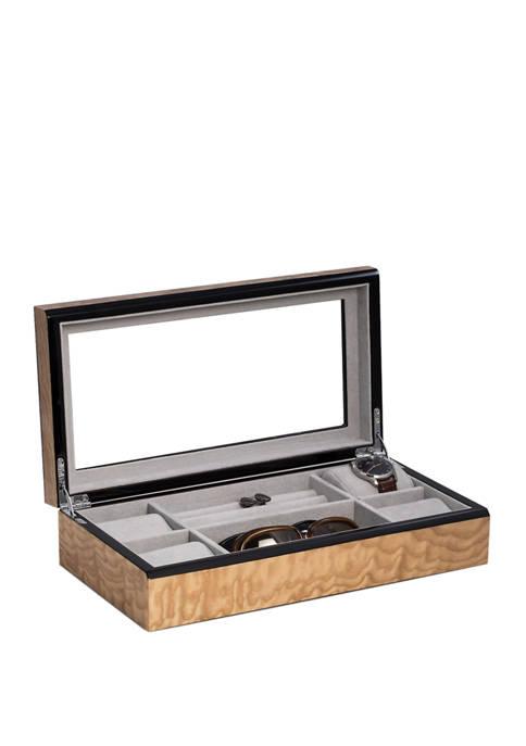 "Bey-Berk Lacquered ""Burl"" Wood Valet / Jewelry Box"