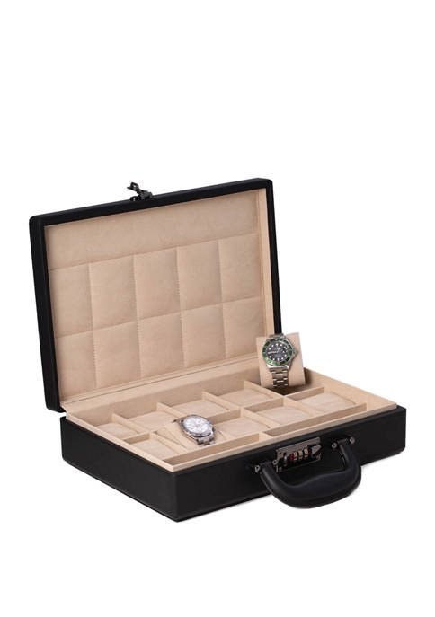 Black 10 Watch Storage Box Briefcase with Handle and Combination Lock
