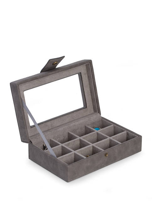 Bey-Berk 12 Cufflinks Storage Case in Gray with